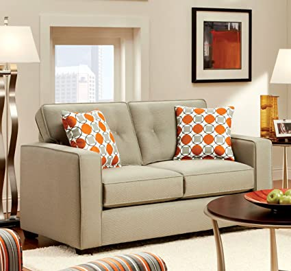 Furniture of America Helios Modern Love Seat, Beige