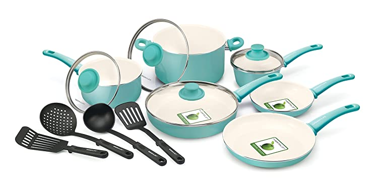 GreenLife 14 Piece Nonstick Ceramic Cookware Set with Soft Grip, Turquoise