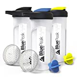 BluePeak Protein Shaker Bottle 28-Ounce, 3-Pack, with Dual Mixing Technology. BPA Free, Shaker Balls & Mixing Grids Included (Yellow, Blue & Black) (Color: 3-pack, Tamaño: 28 Ounce)