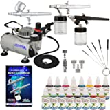 Master Airbrush ABD KIT-WBFP-16-20 Art Professional Airbrush Face and Body Art Paint Airbrushing System Kit with Standard Compressor (09 Items) (Color: Blue, Tamaño: Professional 3-Airbrush System)