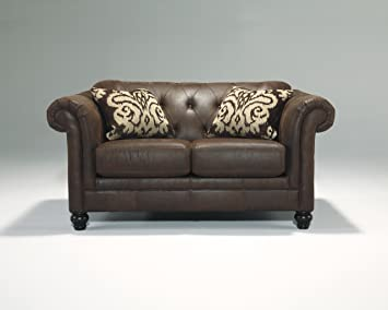 Longdon Place Espresso Finish Faux Leather Upholstered Contemporary Loveseat