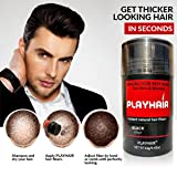 Hair Building Fibers with Natural Keratin to Conceal Instantly for Thinning Hair, Bald spot & Cover Up Hair Loss to Add Volume for Full & Thick Hair for Men & Women by PLAYHAIR (Black) (Color: Black)