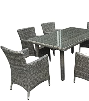 Rattan Garden Furniture - Grey Rattan outdoor furniture dining set - garden table and chairs - rectangle table 4 chair s - Real half round Rattan - Premium Real Rattan, wicker furniture - cane furniture - aluminium frame - Glass Top table - Fully built ch