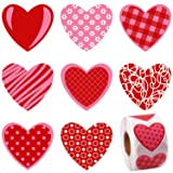 Elcoho 600 Pieces Valentine's Day Heart Stickers Muticolor Self-Adhesive Heart-Shaped Stickers for Valentine's Day or Wedding Decorations