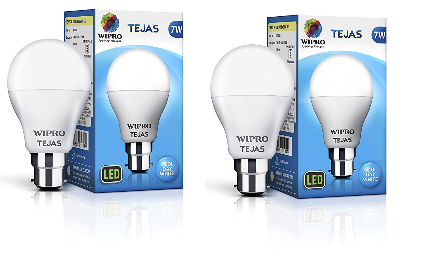 Upto 55% off On LED Bulbs By Amazon | Wipro 7W LED Bulb Cool Day White - Tejas (Pack of 2) @ Rs.269