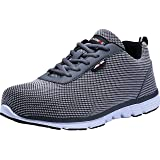 LARNMERN Steel Toe Work Safety Shoes Reflective Casual Breathable Outdoor Footwear (10.5, Flyknit Gray) (Color: Flyknit Gray, Tamaño: 10.5 M US)