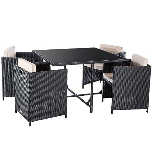 Ultranatura Serie Palma Set Lounge in Polyrattan da 5 Pezzi, Tavolo e 4 Poltroncine, Inclusi Cuscini