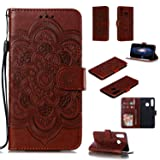 Cfrau Wallet Case with Black Stylus for Huawei P30 Lite,Beautiful Mandala Sunflower Embossed PU Leather Magnetic Flip Stand Soft Silicone Card Slots Case with Wrist Strap - Brown (Color: Brown)