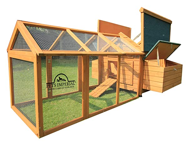 Pets Imperial Double Savoy Large Chicken Coop with 2 Nest Boxes and Run Suitable for Up to 10 Small Birds