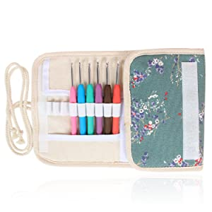 Damero Ergonomic Crochet Hooks Kit Organizer, Travel Canvas Roll Set with 9pcs Crochet Hooks, Comfortable Rubber Grip and Crocheting Accessories Supplies, Carrying with ease, Plum Flowers (Color: Plum Flowers)