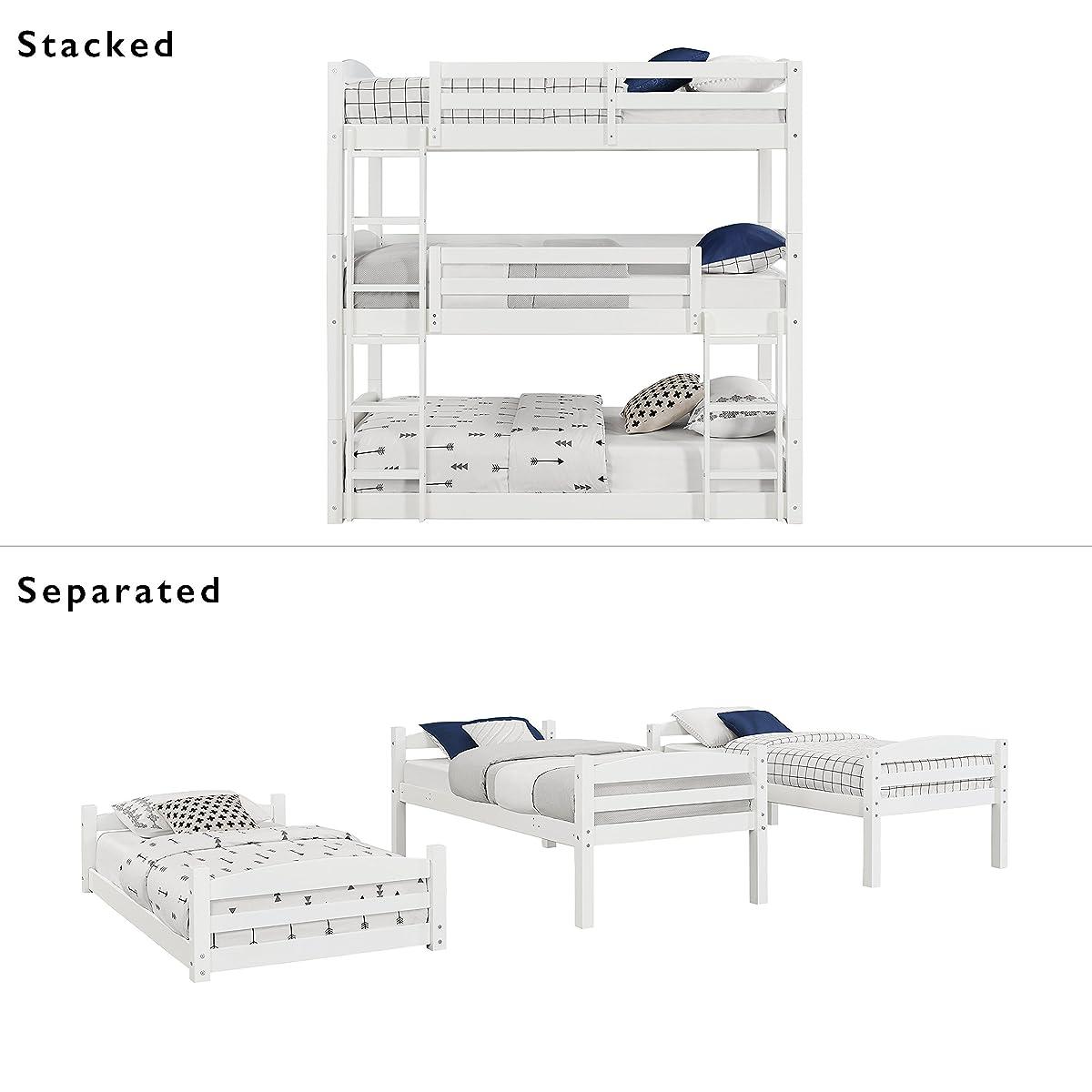 Dorel Living Sierra Triple Twin Wood Bunk Bed, White
