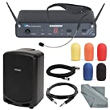 Samson AirLine 88 Headset UHF Wireless System (Channel D, 470-494 MHz) and Portable PA Speaker with Accessory Bundle