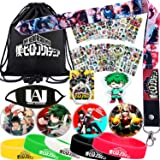 My Hero Academia Bag Gift Set - 1 MHA Drawstring Bag Backpak, 12 Sheet Stickers, 1 Lanyard, 1 Mouth Mask, 1 Keychain, 1 Phone Ring Holder, 5 Bracelets, 4 Button Pins for Anime MHA Fans (Black) (Color: Black, Tamaño: Medium)