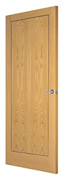 Premdor 95314 838 x 1981 x 35 mm 1-Panel Veneer Innova Solid Core Interior Door- White Oak