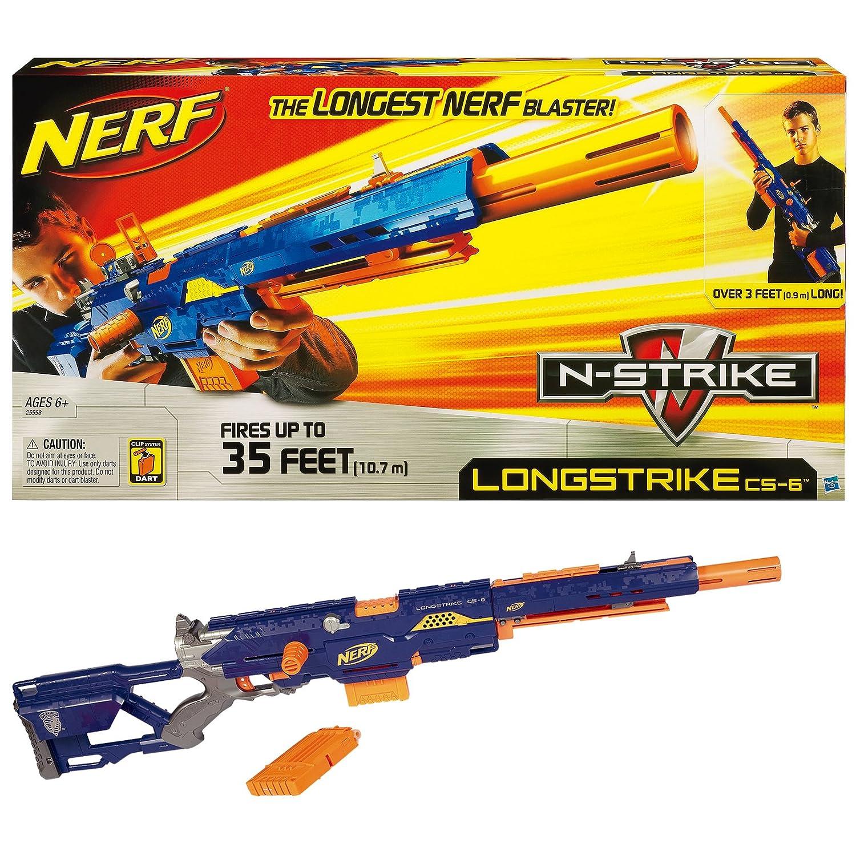 nerf n strike longstrike cs 6 blaster gun brand new shoots 35ft ebay. Black Bedroom Furniture Sets. Home Design Ideas
