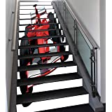 Stair Stickers Wall Stickers,13 PCS Self-adhesive,Cars,Formula Race Car with the Driver Automobile Motorized Sports Theme Strong Engine Decorative,Red Black White,Stair Riser Decal for Living Room, Ha (Color: Multy 07, Tamaño: 39.4