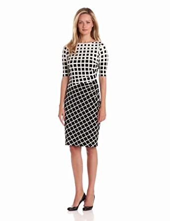Anne Klein Women's Jersey Dress with Side Pleats, Black/Milk, 4