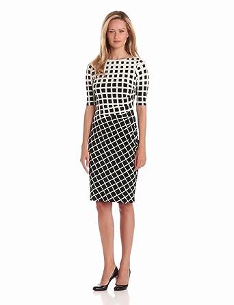 Anne Klein Women's Jersey Dress with Side Pleats, Black/Milk, 4