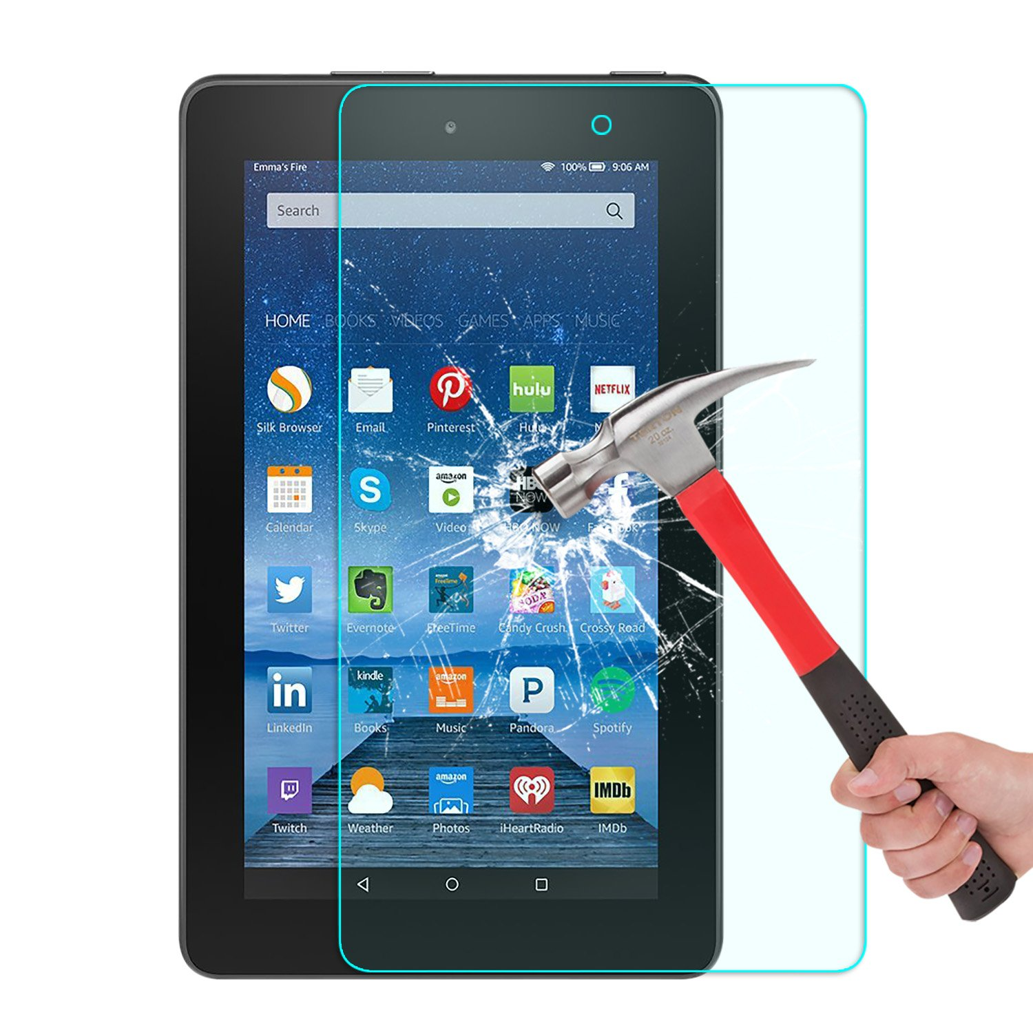 Omoton Scratch Resist Tempered Glass Screen Protector for Amazon Fire 7-inch Tablet(5th Generation)