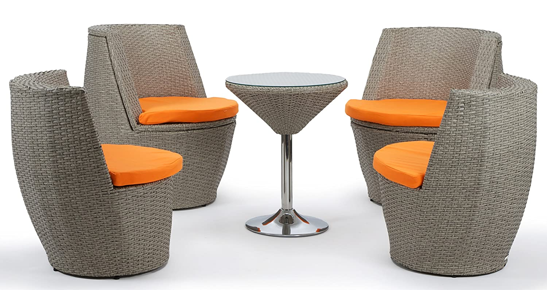 Deluxe Rattan Sitzgruppe Verona grau braun aufgeraut 5 teilig Alurahmen Kissenbezüge (Orange) online kaufen