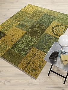 DALLIANCE CLASSIC Vintage Patchwork Velour Teppich in grün, Größe 200x275 cm  Bewertungen und Beschreibung