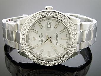 Unworn New Rolex Datejust Oyster Xl Diamond Watch 5.0ct Bezel 43mm White Face