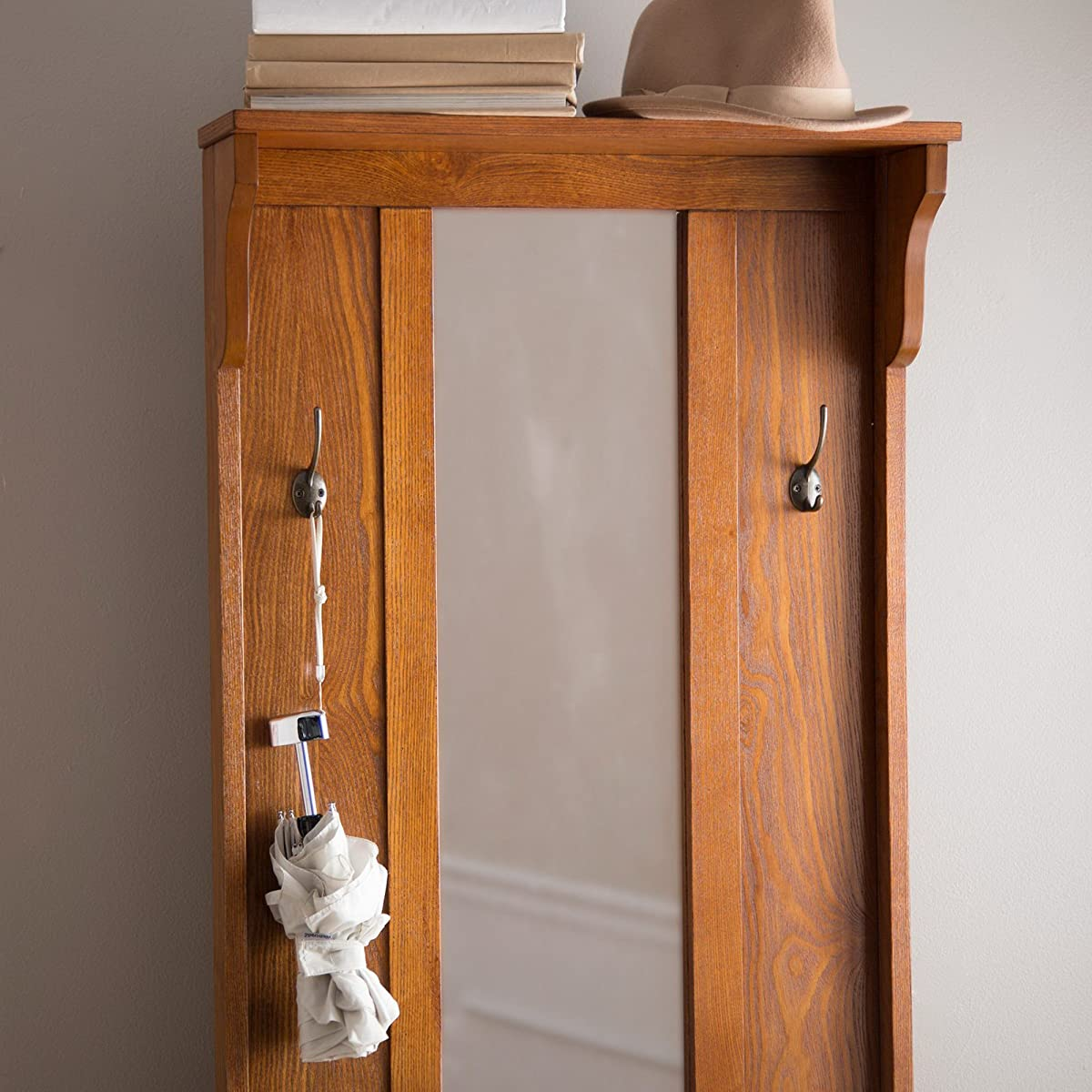 Wooden Entryway Tall Hall Tree Bench Coat And Hat Rack