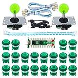 SJ@JX 2 Player LED Arcade Game DIY Kit Highlight LED Button Fighting Joystick Controller Zero delay USB Encoder Retropie PC MAME Mechanical Keyboard Switch Raspberry Pi LED Button (Color: green)