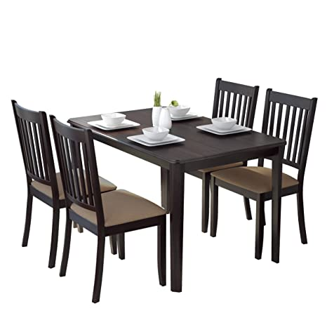 CorLiving 5 Piece DRG-695-Z2 Atwood Dining Set with Microfiber Chairs, Beige