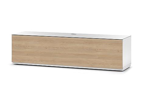 Sonorous STD 160F-WHT-OAK-BS Studio TV-Lowboard fur 177,8 cm (70 Zoll) Fernseher weiß/eiche