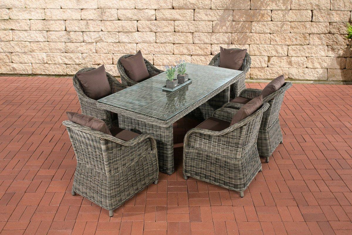 CLP Polyrattan Sitzgruppe LAVELLO grau-meliert, 6 Sessel inkl. Polster + Tisch 180 x 90 cm, Premiumqualität: 5 mm Rund-Rattan grau-meliert, Bezugfarbe terrabraun