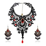 Eternity J. Elegant Vintage Black Lace Victorian Lolita Gothic Pendant Choker Necklace Earrings Set (Color: Red)