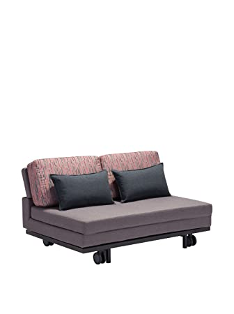 Zuo Modern Felicity Sleeper Sofa in Gray with Red/Gray Print
