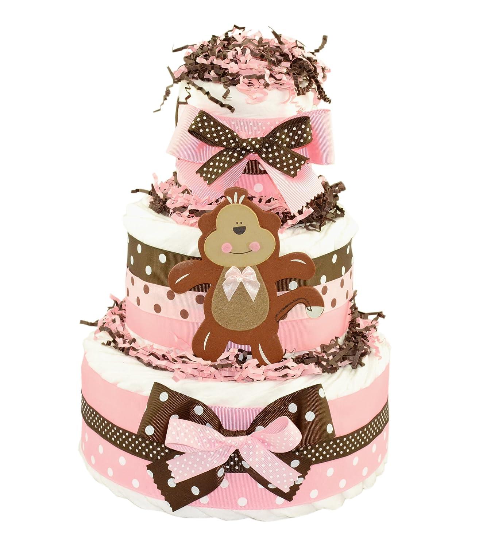 Pink Monkey Diaper Cake
