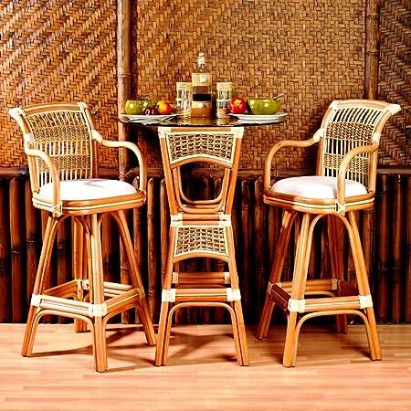 Spice Islands 3 Piece Wicker Bar Height Bistro Set