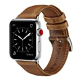OUHENG Compatible with Apple Watch Band 42mm 44mm, Genuine Leather Band Replacement Compatible with Apple Watch Series 4 Series 3 Series 2 Series 1 (42mm 44mm) Sport and Edition, Retro Brown (Color: Retro Brown, Tamaño: 42 mm)