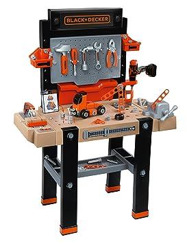 Smoby Toys, 360702, Etabli Bricolo Ultimate, Black + Decker, + 95 Accessoires dont 1 Perceuse Mécanique, + 1 Application Ludo-Educative, + Voiture à Construire