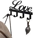 MyGift Love Design Black Metal Wall Mounted Entryway Coat Rack with 4 Hooks