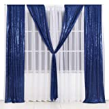 PartyDelight 2ftX8ft Navy Blue Sequin Backdrop Curtain Photo Booth for Wedding Party Birthday Decoration Pack of 2. (Color: Navy Blue, Tamaño: 2X8 2packs)