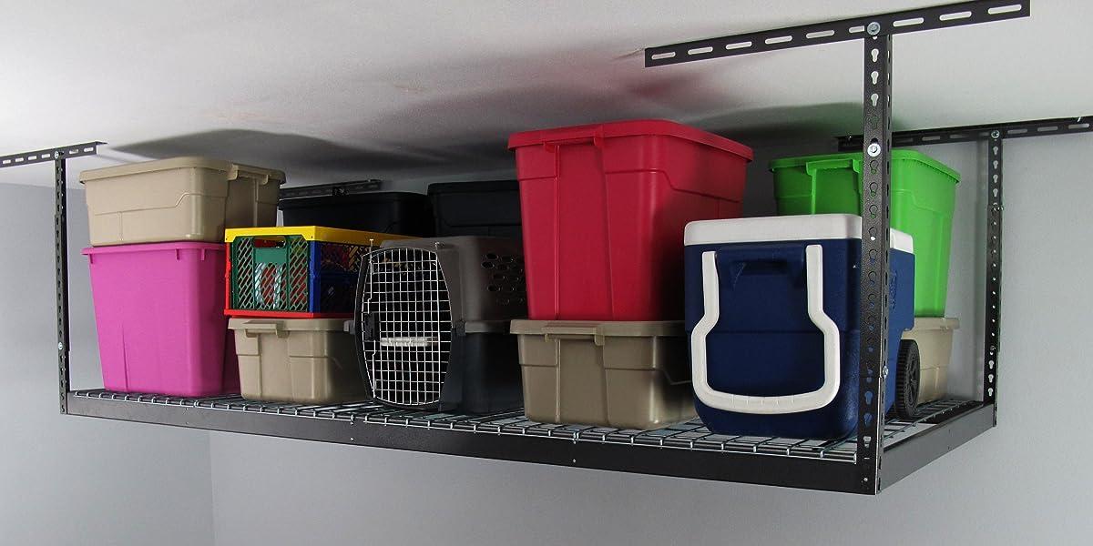 "Monsterrax - 4x8 Overhead Garage Storage Rack Heavy Duty (24""-45"" Ceiling Drop) - Hammertone"