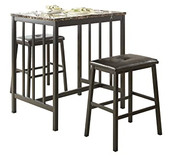 Homelegance 5106BK 3-Piece Bi-Cast Vinyl Dining Set, Dark Brown
