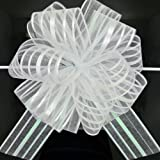 FQTANJU Pull Bow, Large, Organza, 6 Inches, White, 5pcs