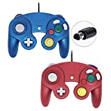 Poulep Wired Controller For Gamecube Game Cube, Classic Ngc Gamepad Joystick For Wii Nintendo Console (Blue and Red,Pack Of 2) (Color: Blue and Red)