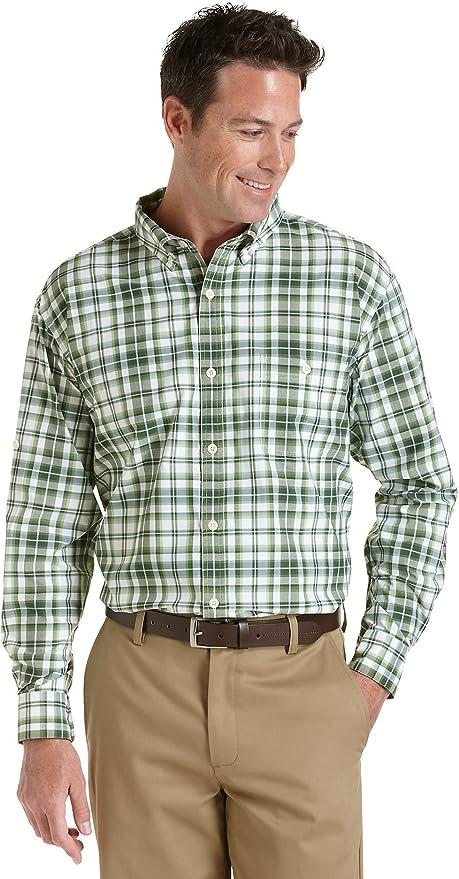 Coolibar UPF 50+ Men's Plaid Sun Shirt - Sun Protective (Small - Green/White Plaid)