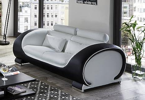 SAM® Design Couch, Sofa Vigo 2-Sitzer, 151 cm Länge, in weiß schwarz mit bequemen verstellbaren Kopfstutzen, Polstercouch mit Samolux®-Bezug, mit edlen chromfarbenen Fußen