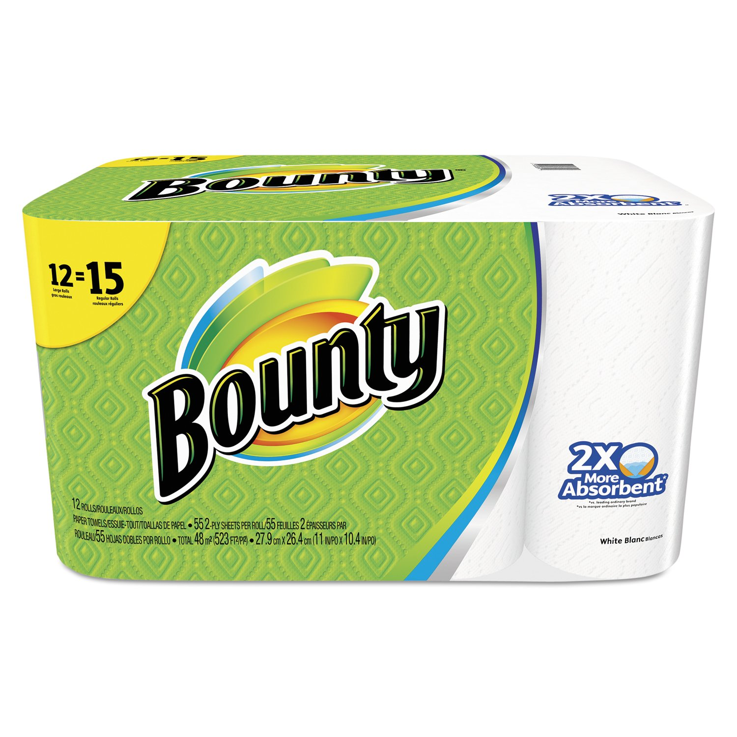 "Bounty 88197 Perforated Towel Rolls, 11"" x 10-2/5"", White (Pack of 12)"