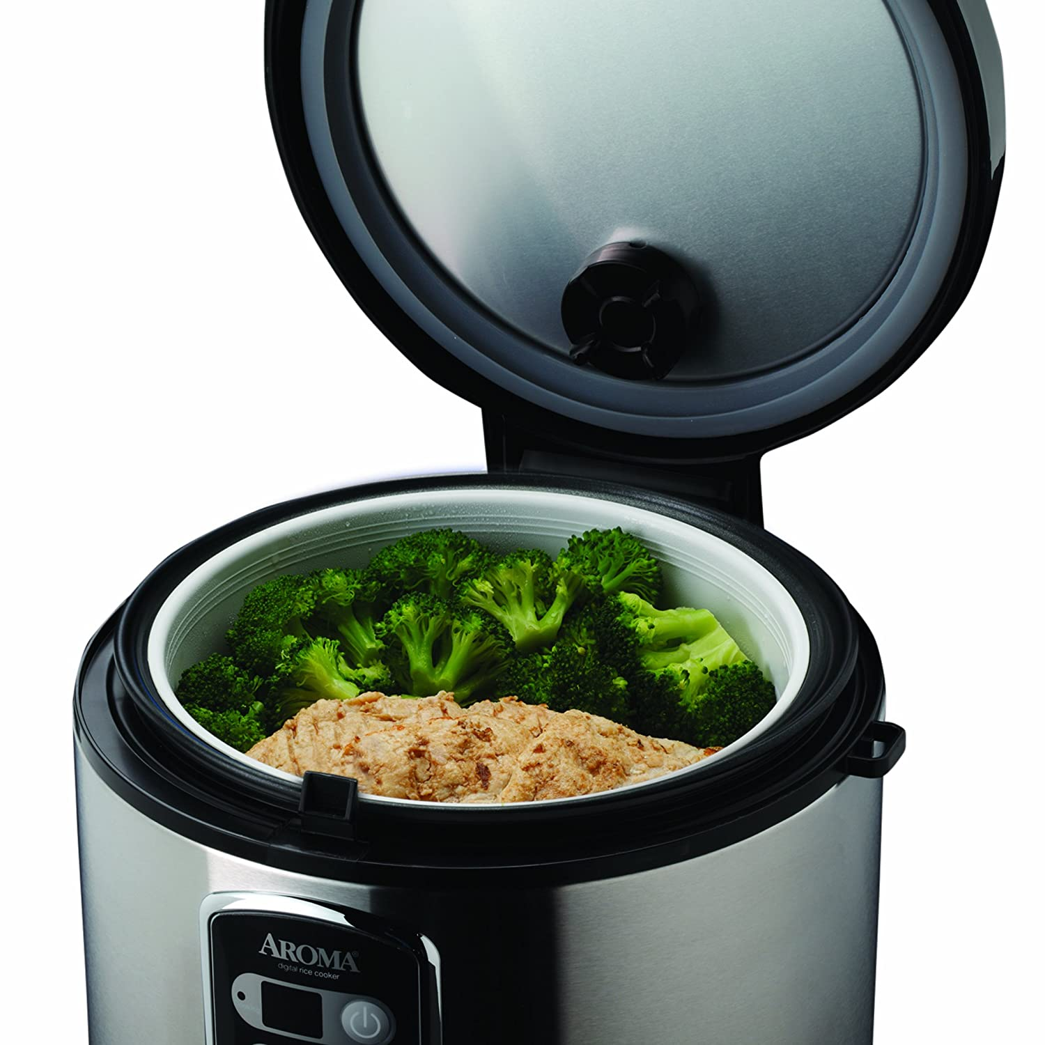 aroma professional 20 cup cooked digital rice cooker and food steamer stainle ebay. Black Bedroom Furniture Sets. Home Design Ideas