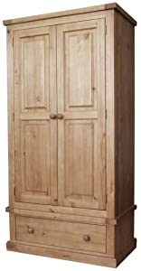K.Interiors Collection Salisbury 2 Door 1 Drawer Wardrobe with Lacquer Finish, Brown       Customer reviews and more information