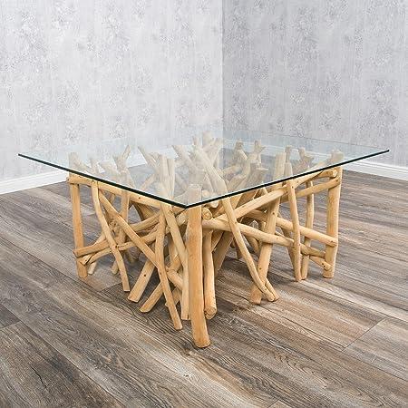 Designer Couchtisch DRIFT Treibholz Natur 80x80cm Lounge Modern Sofatisch