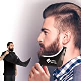 Uber Beard- Beard Bib & Fine Beard Shaper, Guide Template, Water proof Beard Apron Kit to Catch Clippings Makes Grooming your Beard Easier and Eliminates Cleanup Hassles (Large Neck, Extra long Bib)